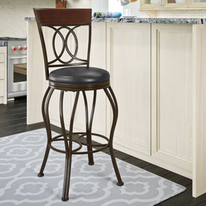 Jericho Metal Bar Height Barstool with Dark Brown Bonded Leather Seat