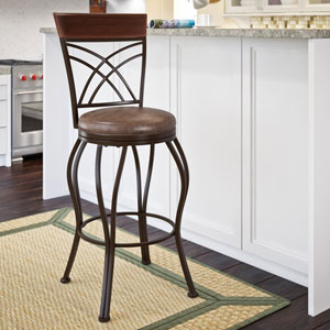 Jericho Metal Bar Height Barstool with Rustic Brown Bonded Leather Seat