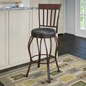 Jericho Metal Bar Height Barstool with Glossy Dark Brown Bonded Leather Seat