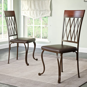 Jericho Metal Dining Chair with Dark Brown Bonded Leather Seats, Set of 2