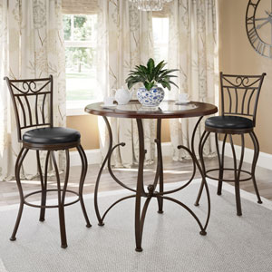 Jericho 3-Piece Counter Height Glossy Brown Barstool and Bistro Table Set