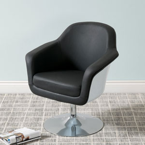 Mod Modern Bonded Leather Accent Chair, Black and White