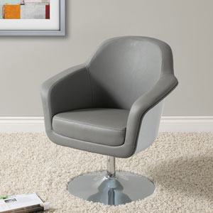 Mod Modern Bonded Leather Accent Chair, Grey and White