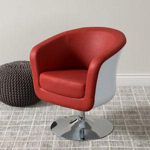 Mod Modern Bonded Leather Tub Chair, Red and White