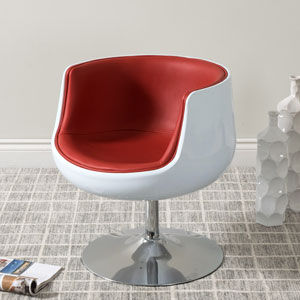 Mod Modern Bonded Leather Barrel Chair, Red and White
