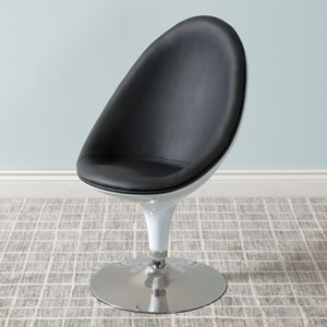Mod Modern Bonded Leather Ellipse Chair, Black and White