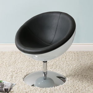 Mod Modern Bonded Leather Circular Chair, Black And White