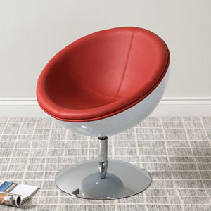 Mod Modern Bonded Leather Circular Chair, Red and White