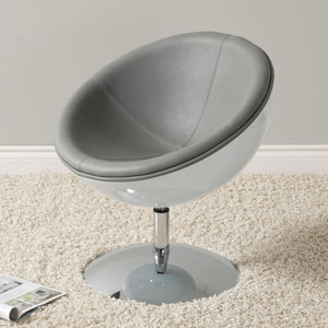 Mod Modern Bonded Leather Circular Chair, Grey and White