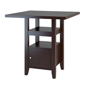 Bistro Cappuccino Counter Height Dining Table with Cabinet