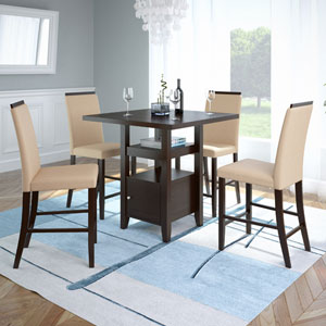 Bistro Rich Cappuccino and Desert Sand Counter Height Five-Piece Dining Set