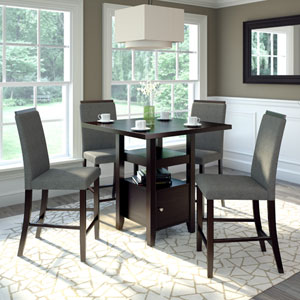 Bistro Rich Cappuccino and Pewter Grey Counter Height Five-Piece Dining Set