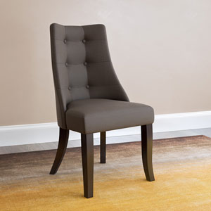 Antonio Button Tufted Brown Dining Accent Chairs, Set of 2