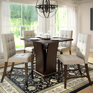Bistro Rich Cappuccino and Tufted Platinum Sage Counter Height Five-Piece Dining Set