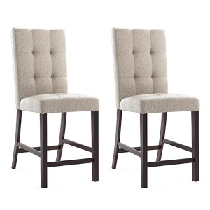 Bistro Cappuccino and Tufted Platinum Sage Dining Chair, Set of Two