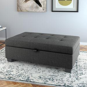 Antonio Storage Ottoman in Dark Grey Fabric