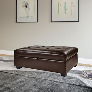Antonio Storage Ottoman in Brown Bonded Leather