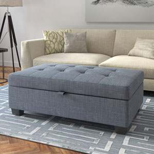 Antonio Storage Ottoman in Blue Grey Fabric