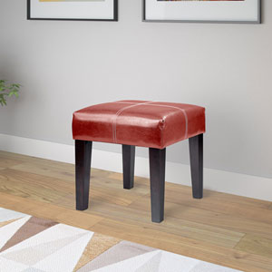 Antonio 16-Inch Square Bench in Red Bonded Leather