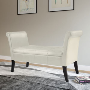 Antonio Storage Bench with Scrolled Arms in Cream Bonded Leather
