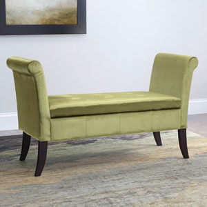 Antonio Storage Bench with Scrolled Arms in Green Velvet
