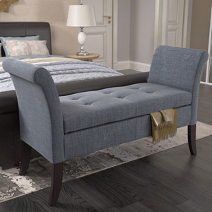 Antonio Storage Bench with Scrolled Arms in Blue Grey Fabric