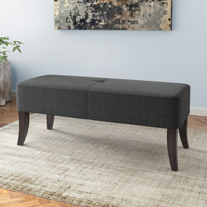 Antonio 46-Inch Bench in Dark Grey Fabric