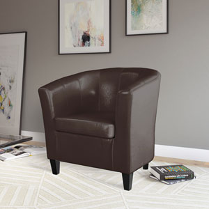 Antonio Tub Chair in Brown Bonded Leather