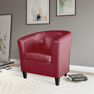 Antonio Tub Chair in Red Bonded Leather
