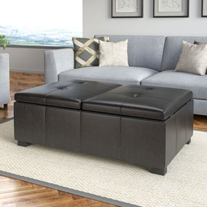 Antonio Double Storage Ottoman in Black Bonded Leather