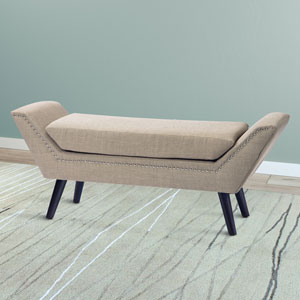 Antonio Beige FabriBench with Stud Detailing