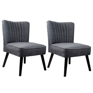 Antonio Woven Grey Accent Chair, Set of 2