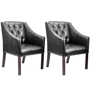 Antonio Black Bonded Leather Accent Club Chair, Set of 2