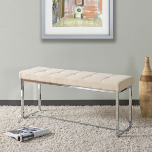 Huntington Modern Beige FabriBench with Chrome Base