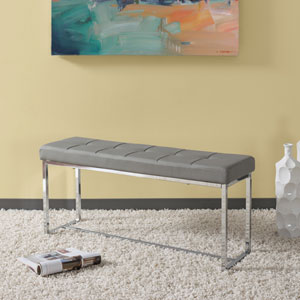 Huntington Modern Grey Leatherette Bench with Chrome Base
