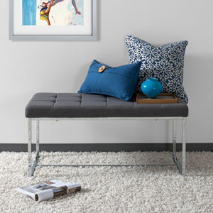 Huntington Modern Grey FabriWide Bench with Chrome Base