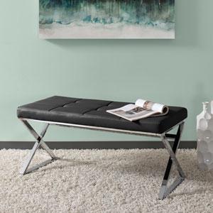 Huntington Modern Black Leatherette Bench with X Shape Chrome Base