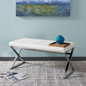 Huntington Modern White Leatherette Bench with X Shape Chrome Base