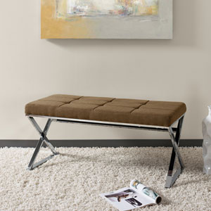 Huntington Modern Brown FabriBench with X Shape Chrome Base