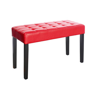 California Red Leatherette 24 Panel Bench