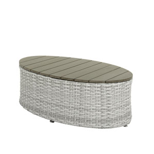 Weather Resistant Resin Wicker Oval Patio Coffee Table