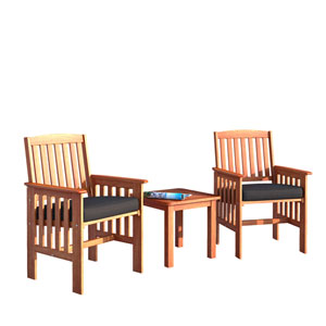 Miramar 3 piece Cinnamon Brown Hardwood Outdoor Chair and Side Table Set