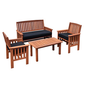 Miramar 4pc Cinnamon Brown Hardwood Outdoor Chair and Coffee Table Set