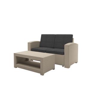 Weather Beige Loveseat Patio Set with Dark Grey Cushions