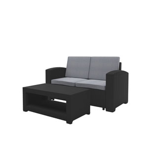 Weather Black Loveseat Patio Set with Light Grey Cushions
