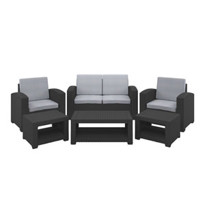 Weather Black Patio Set with Light Grey Cushions