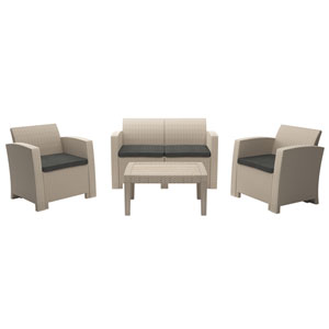 Weather Beige Conversation Set with Dark Grey Cushions