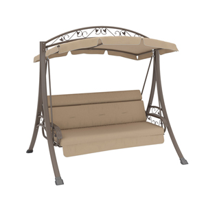 Nantucket Warm Gray and Beige Outdoor Patio Swing with Arched Canopy