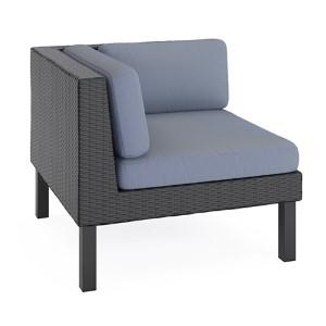 Oakland Textured Black Weave Outdoor Patio Corner Seat