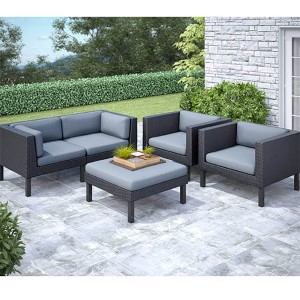 Oakland Textured Black Weave Five-Piece Sofa and Chair Outdoor Patio Set